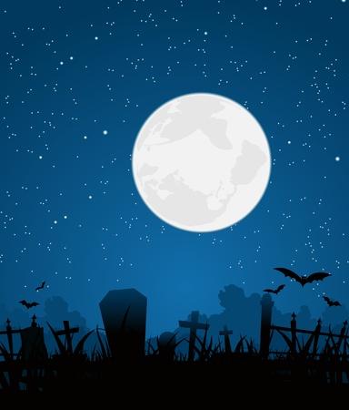 Ilustración de una escena de dibujos animados cementerio para el fondo de Halloween con gran luna en el cielo