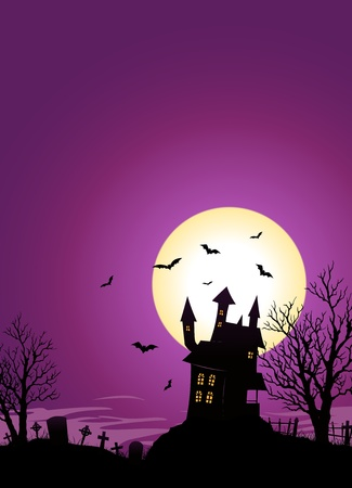 Illustration of a spooky haunted castle on hill inside halloween landscape