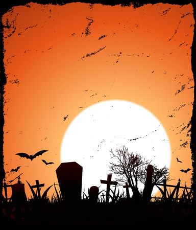 Illustration of a grunge halloween background with sunset behind Vector