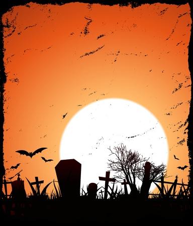Ilustración de un fondo del grunge con la puesta de sol detrás de Halloween