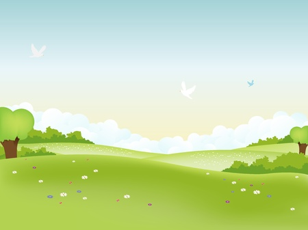 Illustration of easter landscape and seasonal summer or spring poster Vector