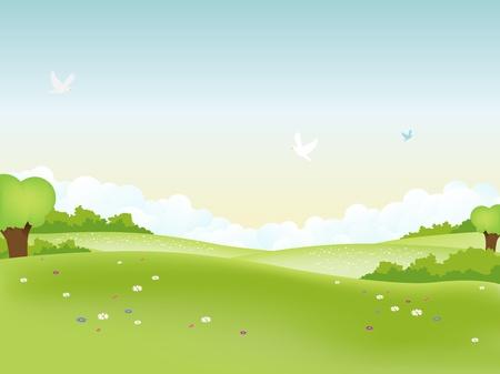 poppy field: Ilustraci�n del paisaje de pascua y verano de temporada o un cartel de primavera Vectores