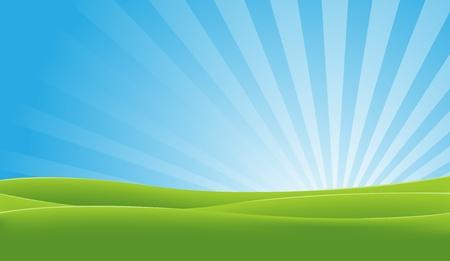 himmelsblå: Illustration av ett landskap på våren eller sommaren med åkrar och glänsande sky i gryningen Illustration