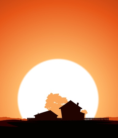 Illustration of a farm home silhouette in a sunset sky Vector