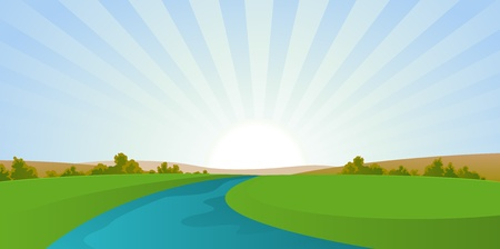 Illustration of a seasonal river landscape in autumn season