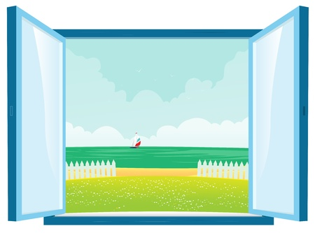 Illustration of spring or summer beach sight from a home interior window Stock Vector - 11248610
