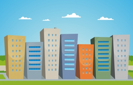 Illustration of cartoon styled street with buildings Vector
