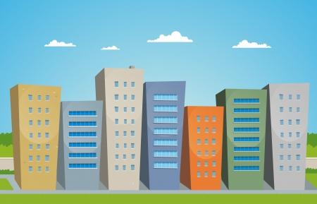 aziende: Illustrazione della strada con edifici in stile cartone animato