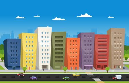 Illustration of a cartoon downtown scene with buildings, cars and some  characters on the pavement Vector