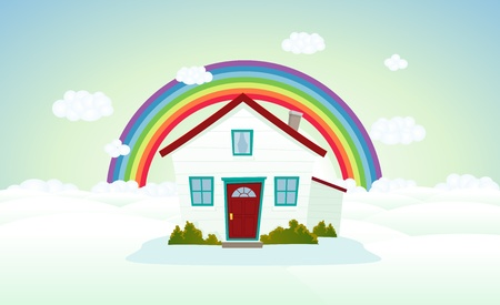 Illustration of a cartoon house on cloudscape with rainbow Vector