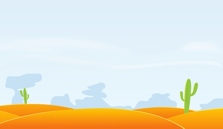 sand dunes: Illustration of a cartoon desert landscape with cactus Illustration