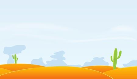 Ilustracja z pustynnym krajobrazem kreskówki z kaktusa