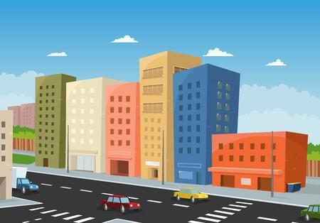 Illustration d'un centre ville, dessin animé, avec des immeubles de bureaux et des voitures de conduite