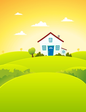 Illustration of a cartoon house inside beautiful meadows landscape in summer  season Vector