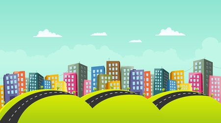 Illustration of a cartoon city horizontal road Vector