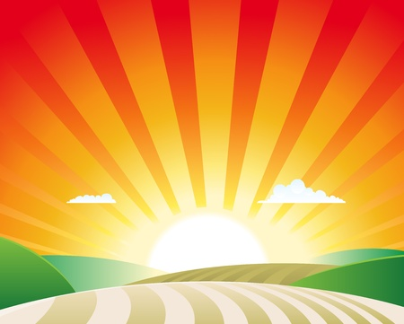 Illustration of a simple agriculture rural landscape scene background Vector