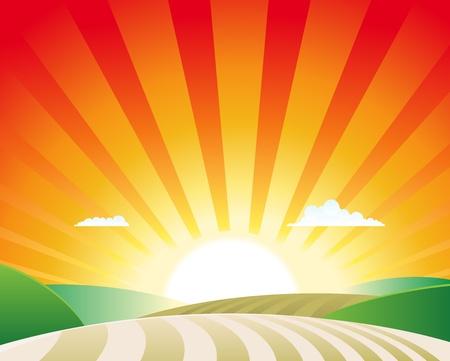Illustration of a simple agriculture rural landscape scene background