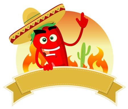 Illustratie van een Mexicaanse banner met red hot chili pepper karakter en sombrero
