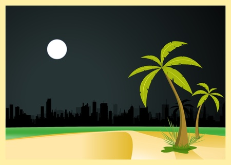 Illustration of a tropical beach near the city by night