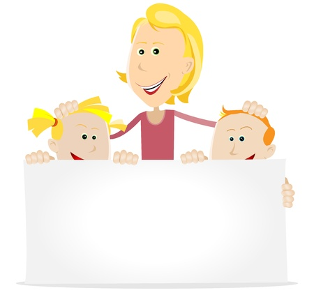 Illustration of happy chidren and their father wishing a happy anniversary to  their mother Vector