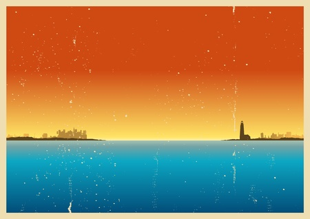 distant: Illustration of a port with lighthouse background Illustration