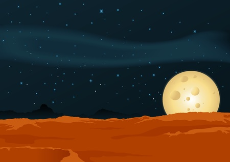 jupiter light: Illustration of a desert lunar landscape background poster
