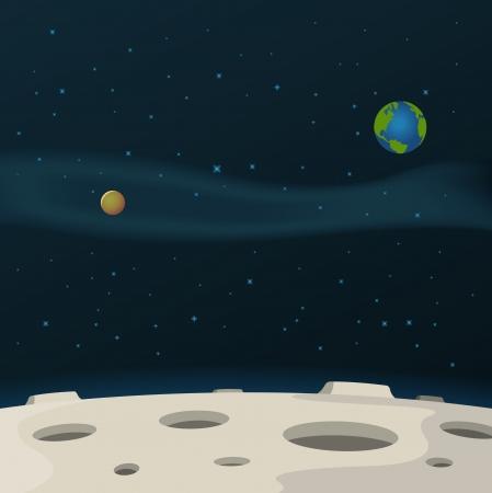 Illustratie van een cartoon maan oppervlak met melkweg, melkweg en planeten achter