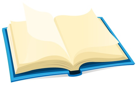 poem: Illustration of a blue covered open book with blank pages