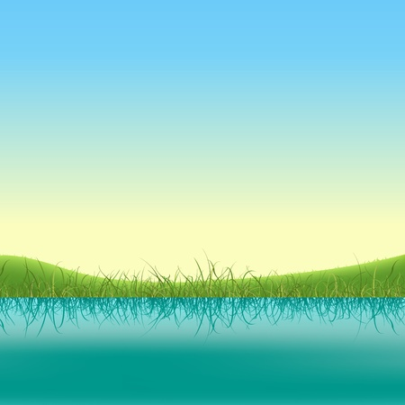 Illustration of a spring or summer lake banner with grass and fields