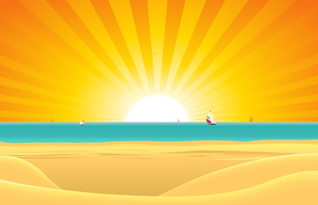 horizon over water: Illustration of a summer sunny beach poster background, horizon over water and sailboats