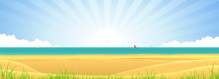 Illustration of a summer season beach landscape banner, with sand, grass, dunes,  ocean, sailboats and sunbeams