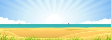 Ilustración de un banner temporada de verano paisaje de playa, con arena, hierba, dunas, mar, barcos de vela y los rayos de sol