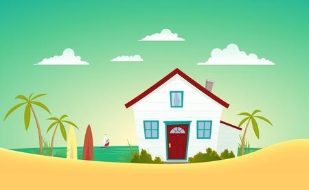 Illustratie van een cartoon huis vlakbij de zomer strand met zeilboot achter