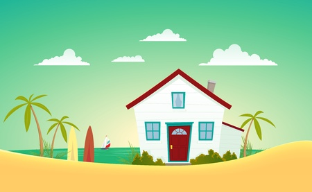 welcome home: Illustration of a cartoon house near the summer beach with sailing boat behind