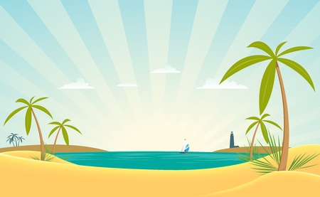 gulf: Illustration of a ocean beach landscape with palm trees and lighthouse