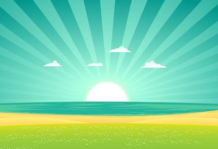 Illustration d'un paysage plage de bande dessinée dans le lever du soleil