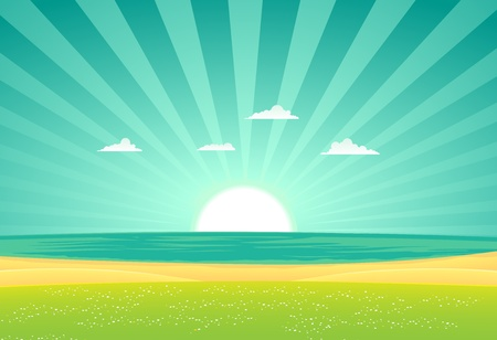 Illustration of a cartoon beach landscape in the sunrise Vector