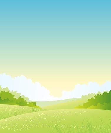 buisson: Illustration d'une nature en plein air sur fond de paysage Illustration