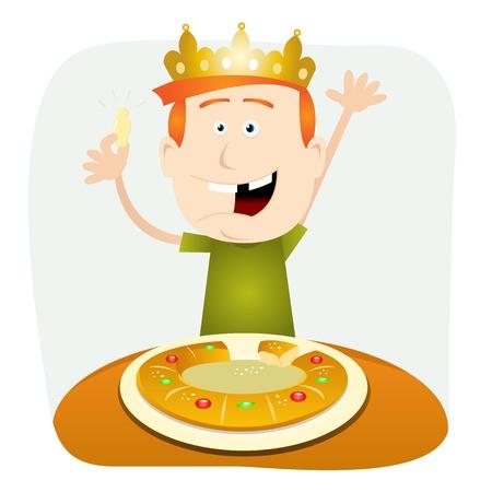 epiphany: Illustration of a cartoon child eating a cake for epiphany holidays