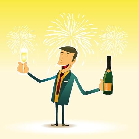 fin de a�o: Ilustraci�n de un hombre feliz celebraci�n de v�spera de A�o Nuevo con una copa de Champagne