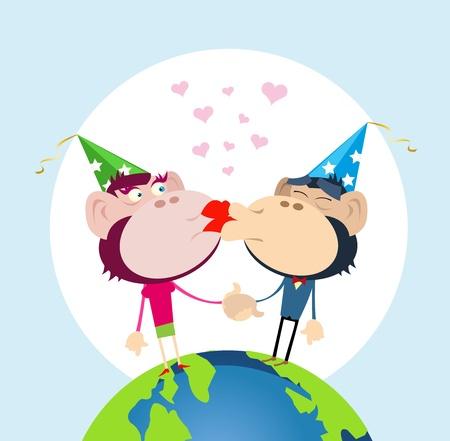 innamorati che si baciano: Illustrazione di un paio di scimmie innamorati che si baciano per la vigilia di nuovo anno '