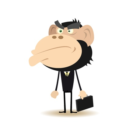 gorilla: Illustration of a monkey businessman looking for money Illustration