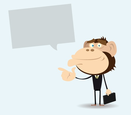 good mood: Illustration of a gorilla businessman in a good mood standing with a message