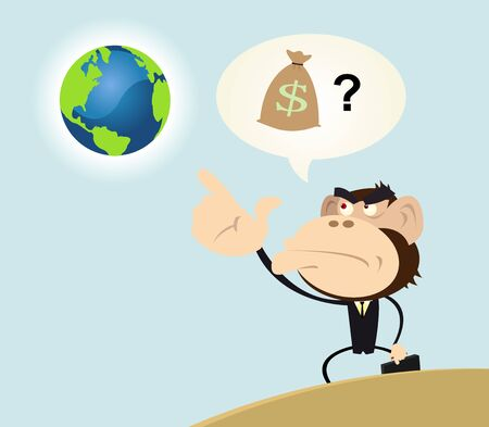 intention: Illustration of a gorilla businessman looking to earth with the intention to make money with it