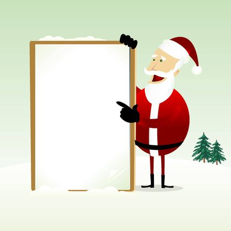 Illustration of a happy Santa Claus Holding A Blank Sign Vector