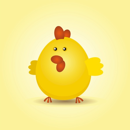 pet breeding: Illustration of a young little rounded and happy yellow chick