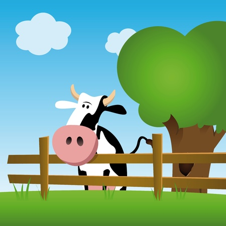 farm animal cartoon: illustration of a dairy cow in a green field, standing behind a fence Illustration