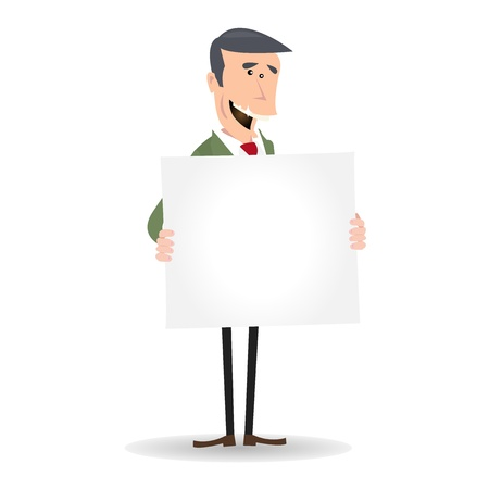 Illustration of a cartoon white caucasian businessman holding avertisement sign for your message Stock Vector - 11248678