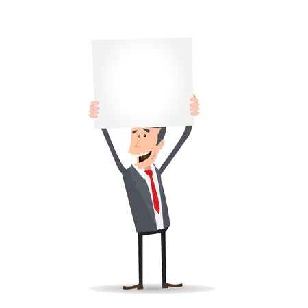 Illustration of a cartoon happy businessman holding blank sign for advertisement message Vector