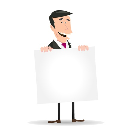 Illustration of A Simple White Businessman or Holding A Blank Sign Vector